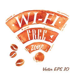Set Watercolor Coffee Wi-Fi vector