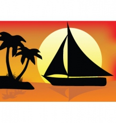 silhouette paradise vector image