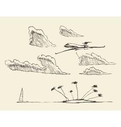 Sketch seaside view island vector