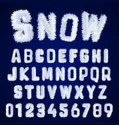 Snow alphabet template letters and numbers white vector