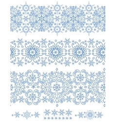 Snowflakes seamless borderWinter pattern vector image