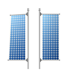 Solar panels ecological power sources set vector