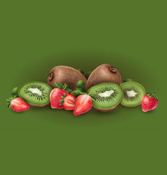 Strawberry and kiwi vector