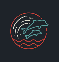 summer dolphin line art icon in retro colors vector image
