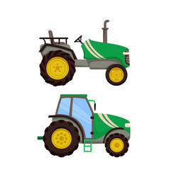 Tractor icons set machinery vector