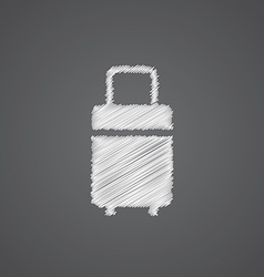 Travel bag sketch logo doodle icon vector