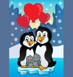 Valentine penguins near seashore vector