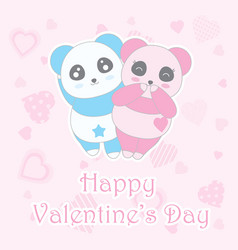 valentines day with cute boy and girl panda vector image