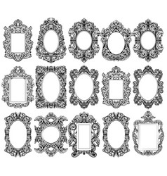 Vintage baroque frame decor set collection vector
