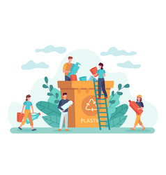 waste recycle eco-friendly people throw out trash vector image