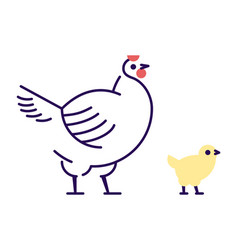 White hen with yellow chick flat domestic bird vector