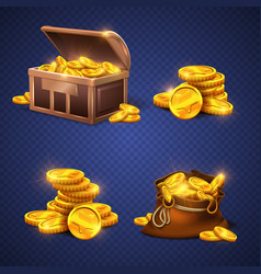 Wooden chest and big old bag with gold coins vector