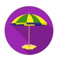 Yelow-green beach umbrella icon in flat style vector