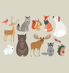 christmas set hand drawn style - forest animals vector image vector image