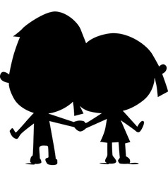 Lovers silhouette hold hand - vector