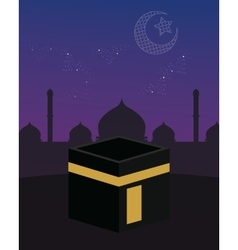 mecca kaaba islam beutiful sky stars crescent vector image vector image