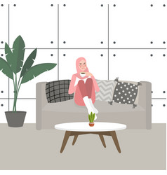 pretty woman girl drinking coffee or tea on couch vector image