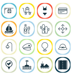 Travel icons set with sail ship baggage on vector