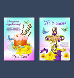 easter poster crucifix cross paschal cake vector image