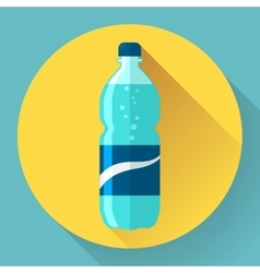 Flat Style Icon with Long Shadow A bottle of vector image vector image