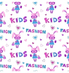 Funny fashion kids seamless pattern vector image