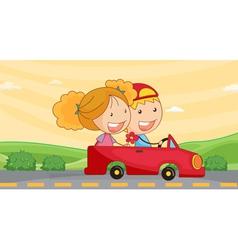 kids in car vector image