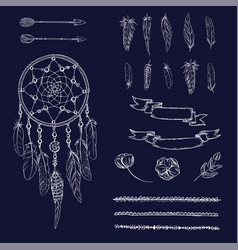 set of hand drawn ornate dreamcatcher flowers vector image