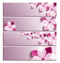 Set of horizontal banners with sakura flower vector image vector image