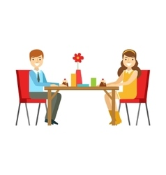 Young Couple On A Date Eating Cakes Smiling vector image
