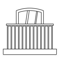 balcony with railing icon outline style vector image vector image
