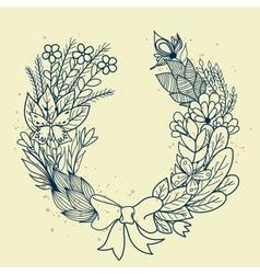 Sketch of floral wreath vector image