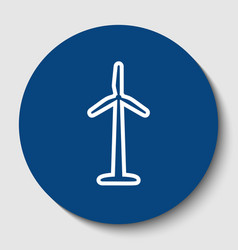 wind turbine logo or sign white contour vector image vector image