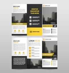 Yellow triangle business trifold Leaflet Brochure vector image vector image