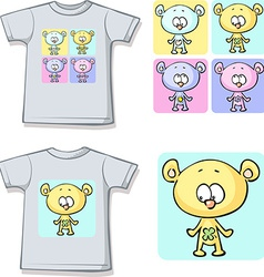 cute teddy bears on shirt vector image vector image