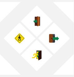 flat icon exit set of open door directional vector image vector image
