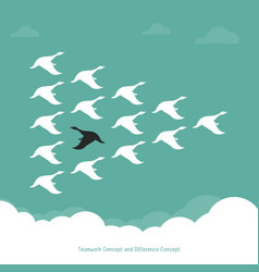 flock of a duck flying in the sky teamwork vector image vector image