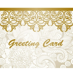 Greeting card with golden floral border vector