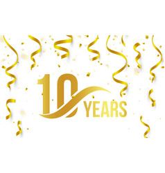 isolated golden color number 10 with word years vector image vector image