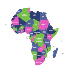 multicolored political map of africa continent vector image vector image
