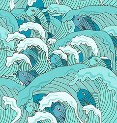 Seamless pattern of waves and fish vector image vector image