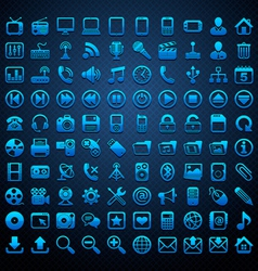 100 blue icons vector image