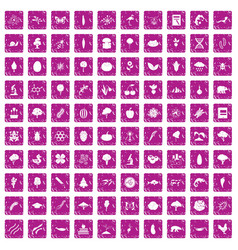 100 microbiology icons set grunge pink vector