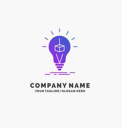 3d cube idea bulb printing box purple business vector