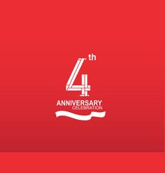 4 anniversary logotype flat design white color vector