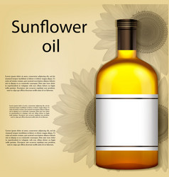a realistic bottle of sunflower oil vector image