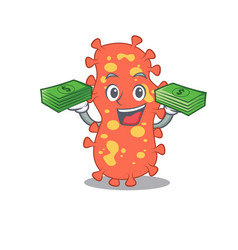 a wealthy bacteroides cartoon having money on hand vector image