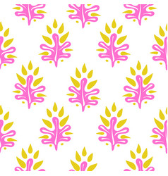 abstract leaves seamless pattern in pink vector image