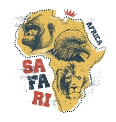 Africa map with animal faces vector image