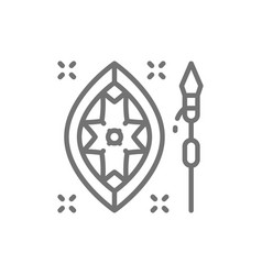 African spear and shield line icon vector
