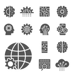 ai and iot icons set symbols in flat outline vector image